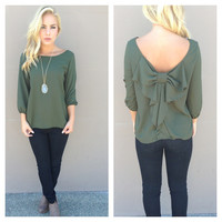 Olive 3/4 Sleeve Bow Back Blouse