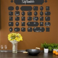 Vintage Chalkboard Calendar wall saying vinyl lettering home decor decal stickers quotes:Amazon:Home & Kitchen