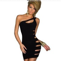 Amour-Sexy Flirty Black Strings One Shoulder Romper Clubwear Disco Gogo:Amazon:Clothing