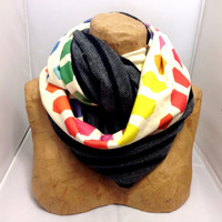 Colorful Knit Scarf - The Hybrid Hexatone Dark Infinity Scarf - LIMITED EDITION