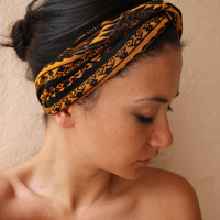 Tribal aztec turban twist headband Orange and black by ThreeHeartZ