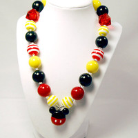 Mickey Mouse Girls Boutique necklace Chunky Beaded Necklace infant and baby necklace red and black