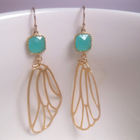 Turquoise Drop Butter Flutter Butterfly Wing Earrings With 14k Gold