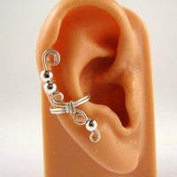 Sterling Ear Cuff Wire Wrapped Round Beads
