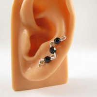 Ear Sweeps Pins Vines Sterling Silver Black Swarovski Crystals