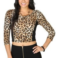 Three Quarter Sleeve Color Block Cheetah Crop Top