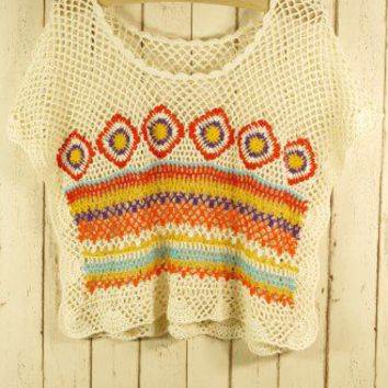 Hand Knit Bohemian Crochet Crop Top - Tops - Retro, Indie and Unique Fashion