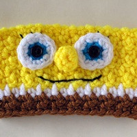 Crocheted Spongebob Coffee Cup Cozy Sleeve