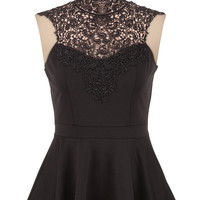Ponte Lace Trim Peplum Top