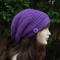 Violet Purple Slouch Beanie - Womens Slouchy Crochet Hat - Ladies Oversized Cap with Button - Hipster Hat