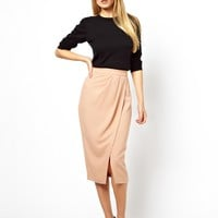 ASOS | ASOS Wrap Pencil Skirt in Crepe at ASOS