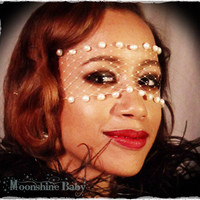 White Freshwater Pearl Mask w/ French Netting - by Moonshine Baby