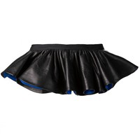 VALENTINA KOVA  - Skirted Leather Belt - KRISS PEPLUM BLACK/BLUE - H. Lorenzo