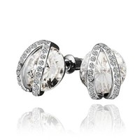 18K White Gold Plated Earrings Twining Round Crystal Stud Earrings Health Jewelry Nickel Free