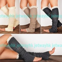 Crochet Lace Trim Cotton Knit Leg Warmers Boot Socks Knee High