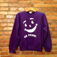 Kool Aid Face Oh Yeah GRAPE Sweater Unisex Purple Crewneck Food Gatorade Shirt