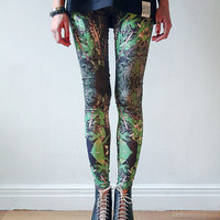 Kaleidoscopic green and black leggings by fashion by QooQooFashion