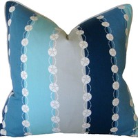 Shoreline - Shore Stripes Aqua Pillow