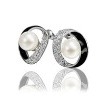 18K White Gold Plated Earrings Enamel Crystal Circle Pearl Stud Earrings Health Jewelry Nickel Free