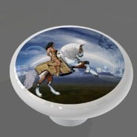 Indian Warrior Horse High Gloss Ceramic Drawer Knob