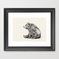 Bear // Graphite Framed Art Print by Sandra Dieckmann