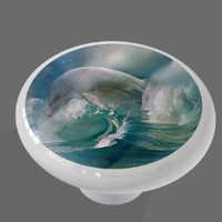 Dolphin Wave High Gloss Ceramic Drawer Knob