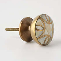 Mother-Of-Pearl Knob by Anthropologie Cream Circle Knobs