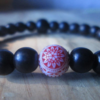 Ebony Wood, Vintage Lucite , Aztec Sun, Black Red White, Stacking Bracelet, Urban Tribal, Unisex
