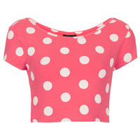 Spot Bardot Crop Top - Topshop USA