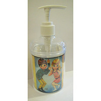 big eye soap dispenser retro vintage sad eye print bathroom decor 1960's kitsch