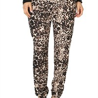 Woven Harem Pant with Leopard Print and Elastic Waistband