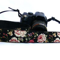 Flowers dSLR Camera Strap. Floral Camera Strap. Women accessories
