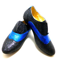 Custom painted blue and black sparkle womens slip on shoes size 8