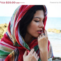 SALE Scarf Indie  Bohemian Accessories Women's Boho Gypsy Scarf Cowl Neck Warmer Hoodie Floral Loop Scarf Mexican Print Red Green Yellow