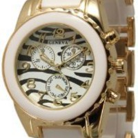 "The ""Boyfriend"" watch. Ceramic Designer Style Fashion Watch with White/Gold Band and Zebra Face"