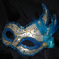Teal, Turquoise and Gold Venetian Feather Mask