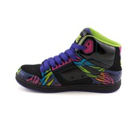 Womens DC Rebound Hi Skate Shoe, Black Multi, at Journeys Shoes