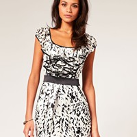 Lipsy Dalmatian Print Frill Front Dress at asos.com