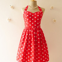 Red Star Dress Vintage Inspired Dress Party Tea Dress Summer Party Dress Once Upon a Time -Size S-