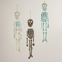 Wooden Hanging Skeleton Wall Decor, Set of 3
