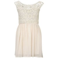 Club L Women's Floral Crochet Skater Dress - Cream
