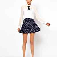 ASOS Skater Skirt in Swallow Print at asos.com