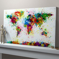 Paint Splashes World Map Art Print