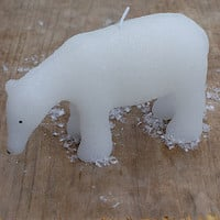 Frosted Polar Bear Christmas Candle