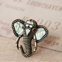 Cute Bronze-Tone Rhinestone Crystal Elephant Ring Adjustable