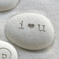 "Petite love stone ""i heart u"" by sjEngraving"