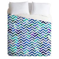DENY Designs Home Accessories | Bianca Green Floral Chevron Aqua Duvet Cover