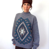 Blue Navajo Ethnic Inspired Turtleneck Oversized Boyfriend Sweater
