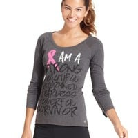 Ideology Top, Long-Sleeve Pink-Ribbon Printed Tee - The Pink Shop - Women - Macy's