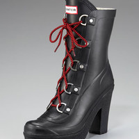 Lace-Up Heeled Rain Boot